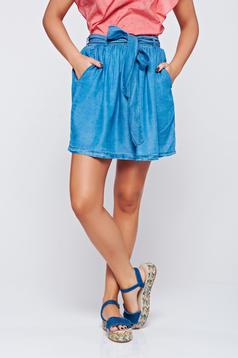 Cloche Top Secret blue casual skirt short
