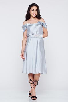 Occasional cloche LaDonna grey off shoulder dress