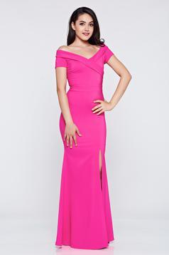 LaDonna long pink occasional dress with v-neckline
