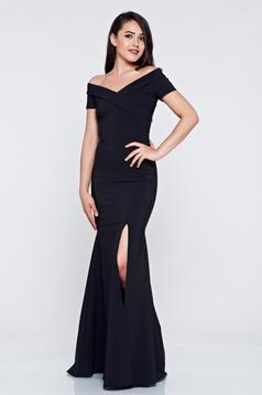 LaDonna long black occasional dress with v-neckline
