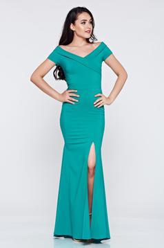 LaDonna long green occasional dress with v-neckline