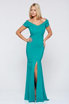 LaDonna long green occasional dress with v-neckline