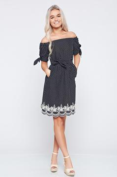 LaDonna casual black off shoulder embroidered dress