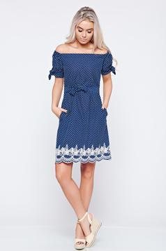 LaDonna casual darkblue off shoulder embroidered dress