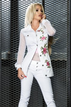 Ocassion white jacket casual embroidered