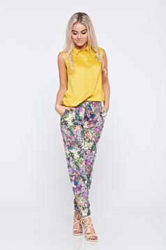 Sleeveless Top Secret yellow casual women`s shirt with a collar