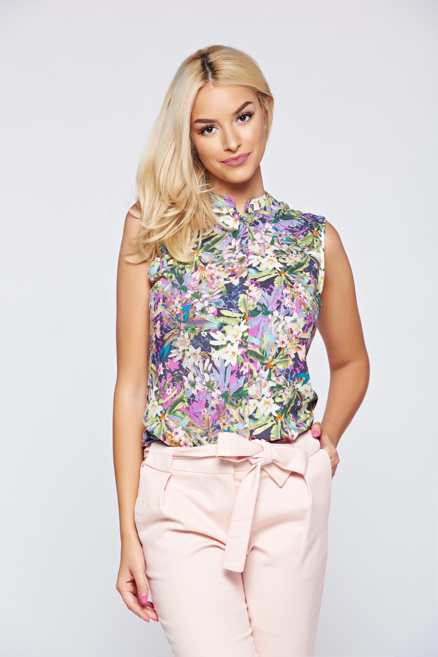 Camasa dama Top Secret rosa fara maneci cu imprimeu floral