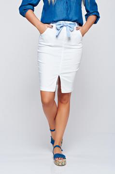 Top Secret white pencil skirt with pockets