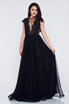 Ana Radu black dress occasional with a cleavage cloche