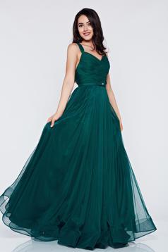 Ana Radu darkgreen evening dresses dress with braces embellished accessories