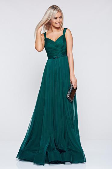 Ana Radu darkgreen evening dresses dress with braces accessorized with tied waistband