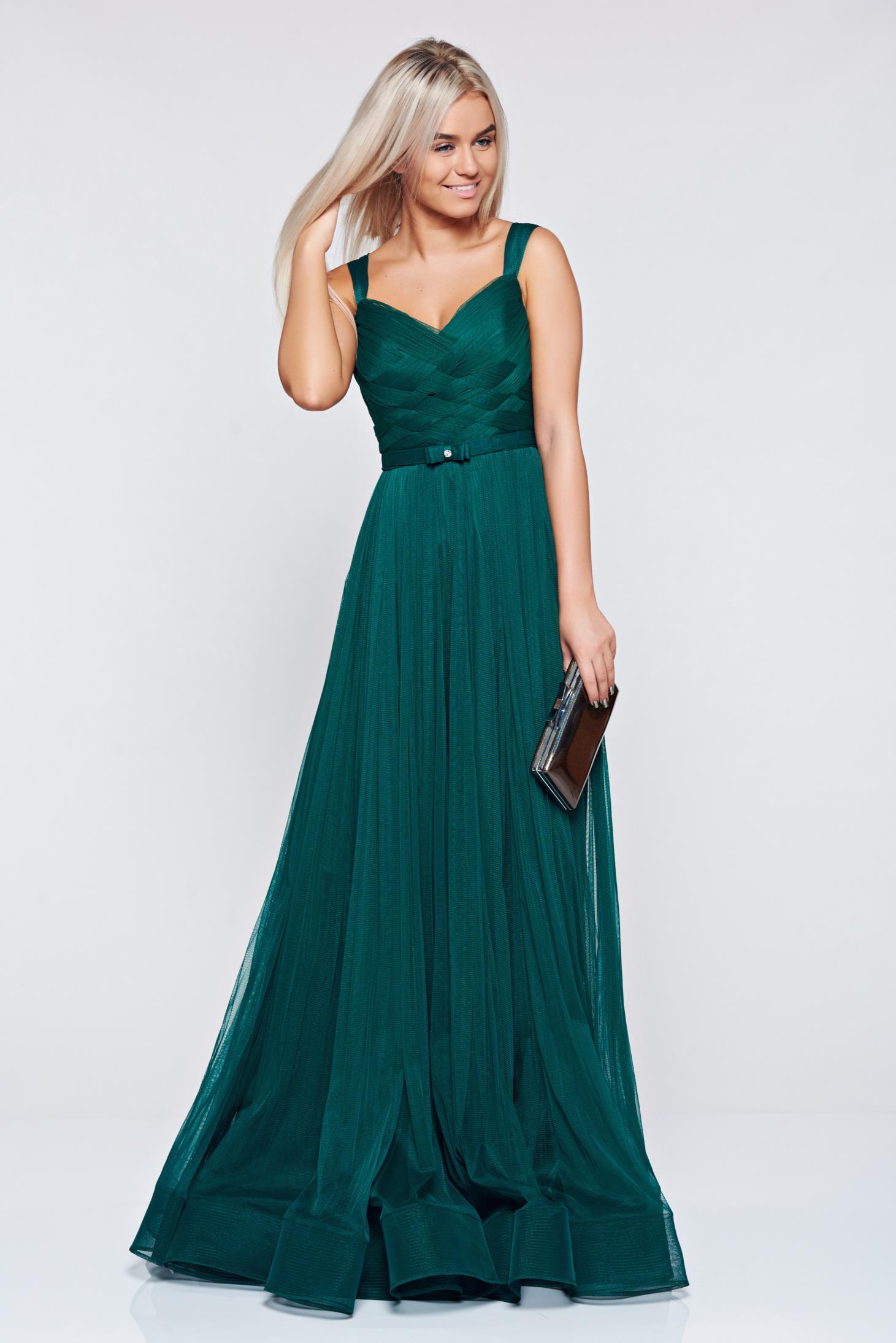 Rochie Ana Radu verde-inchis de lux tip corset din tul captusita pe interior