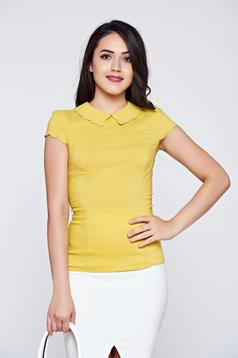 Fofy office lightgreen cotton women`s shirt short sleeve
