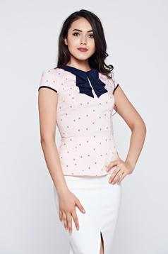 Office Fofy peach cotton women`s shirt with short sleeve