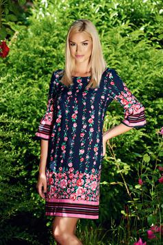 StarShinerS darkblue flared daily dress with floral prints