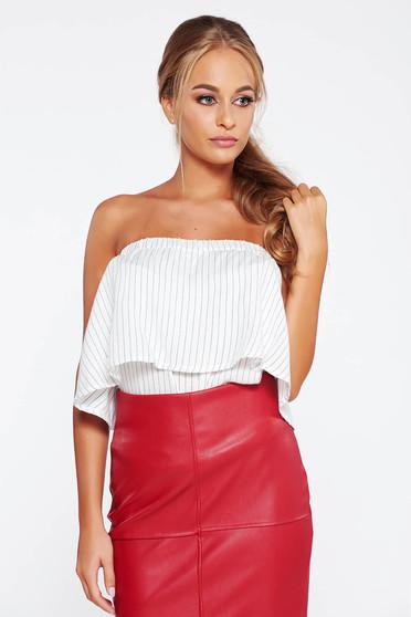 Top Secret white casual off shoulder women`s blouse