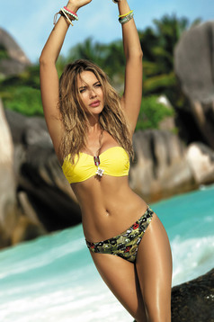 Yellow swimsuit with classical slip push-up cups with straps