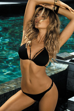 Black swimsuit brazilian slip triangle bra with straps