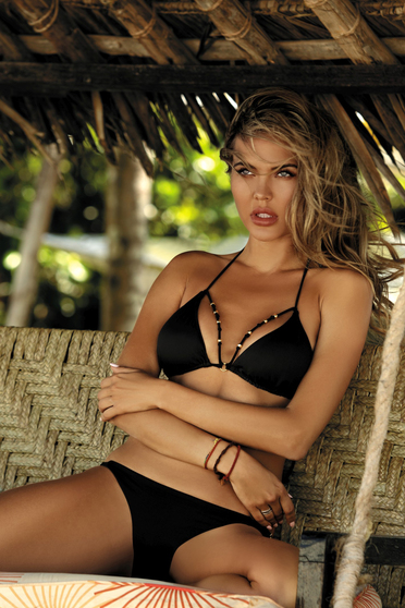 Black swimsuit brazilian slip triangle bra with straps with push-up cups with metal accessories
