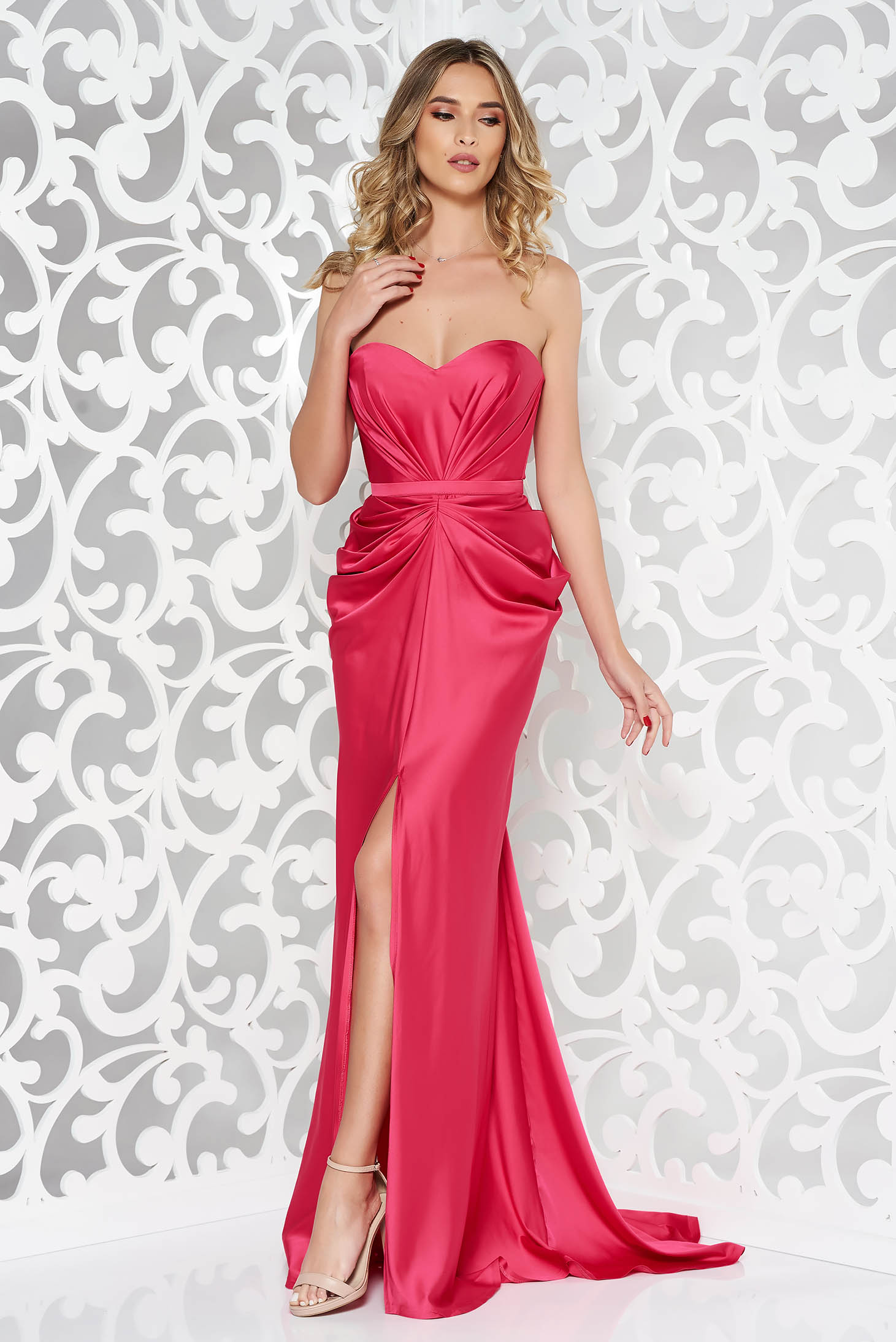 Ana Radu luxurious off shoulder dress from satin fabric texture with push-up bra accessorized with tied waistband fuchsia