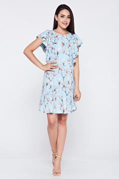 Flared LaDonna lightblue casual dress with ruffled sleeves