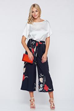 Black casual trousers with floral prints and easy cut