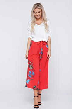 Red casual trousers with floral prints easy cut