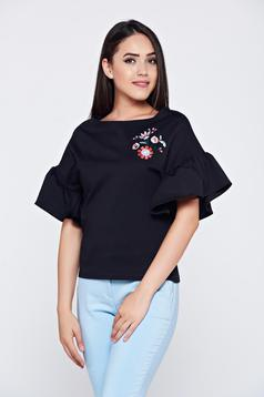 StarShinerS black embroidered women`s blouse with butterfly sleeves and easy cut