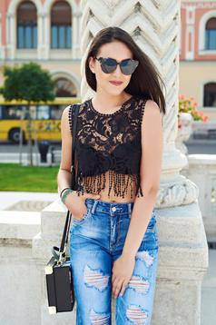 Flared black casual top shirt with fringes
