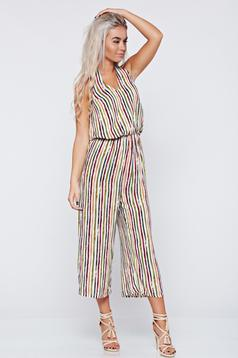 Flared sleeveless green jumpsuit stripes