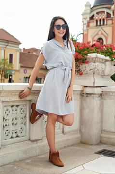 Casual grey easy cut dress accessorized with tied waistband