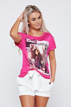 Pink casual cotton t-shirt with print details