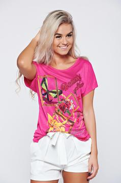 Pink casual t-shirt writing print easy cut