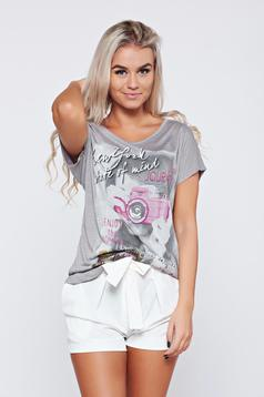 Grey casual cotton t-shirt print details