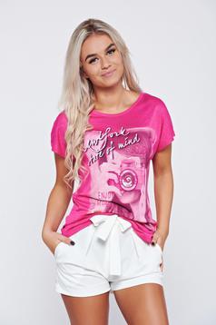 Pink casual cotton t-shirt print details