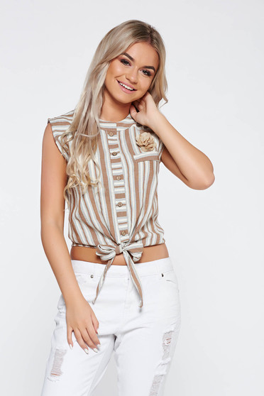 Brown short casual women`s shirt with stripes