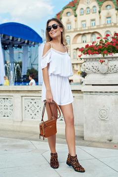 Sleeveless white casual jumpsuit with elastic waist