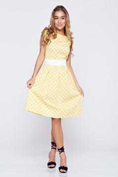 LaDonna cloche yellow cotton dress dots print