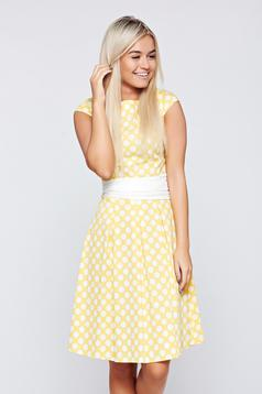 LaDonna cloche yellow cotton dress dots print