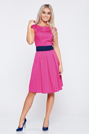 LaDonna cloche fuchsia cotton dress dots print