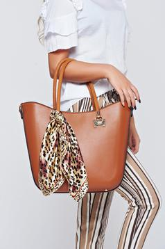 Brown office bag that comes with a scarf