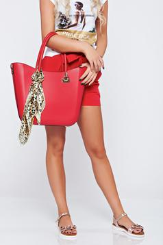 Red office bag comes with a scarf