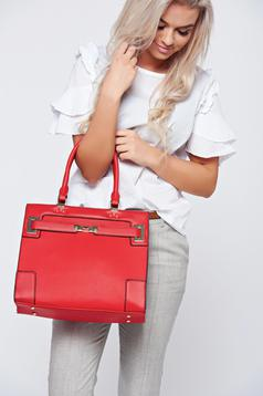 Red office bag short handles