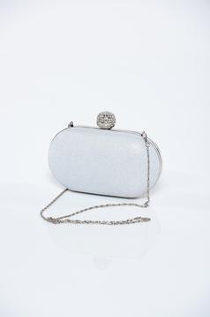 Silver clutch bag metalic accessory glitter details