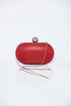 Red clutch bag metalic accessory glitter details