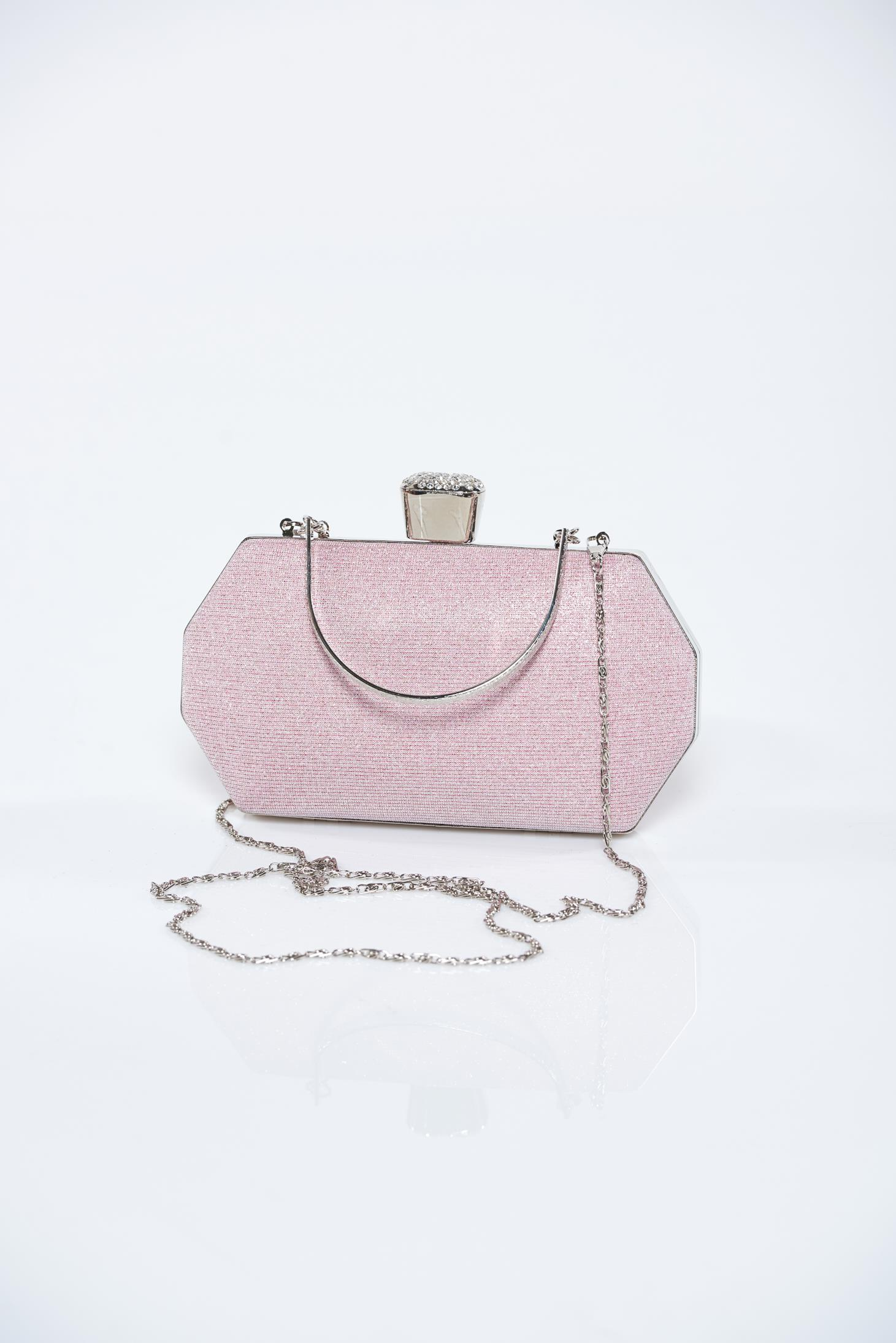 Geanta dama roz deschis de ocazie cu aplicatii cu sclipici