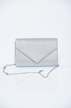 Silver clutch bag glitter details