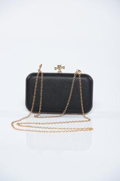 Occasional black bag with metallic buckle