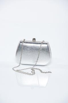 Silver occasional bag with metallic aspect