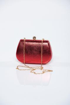 Red occasional bag metallic aspect